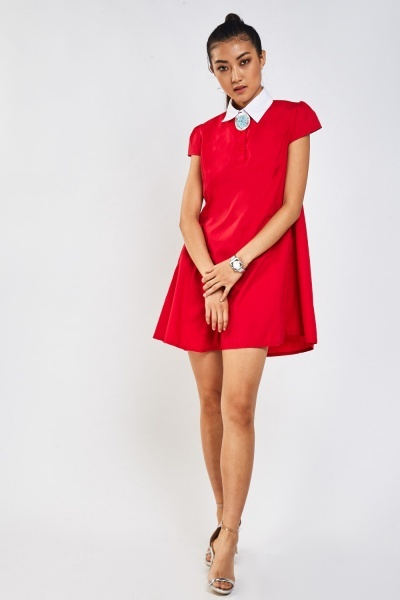 Collared Short Flared Dress
