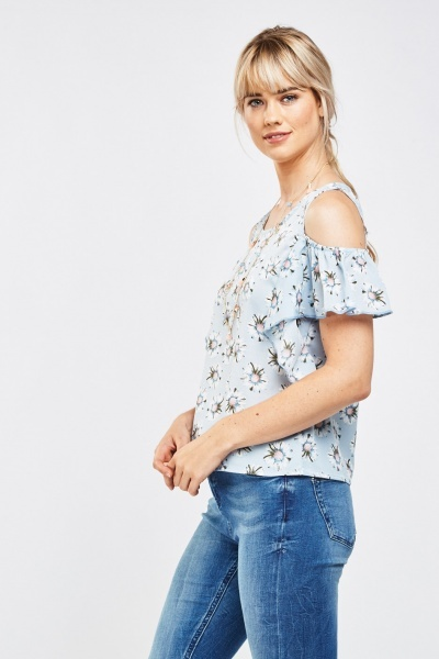 Daisy Printed Cold Shoulder Top