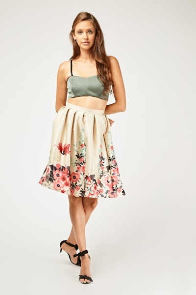 Printed Flared Sateen Circle Skirt