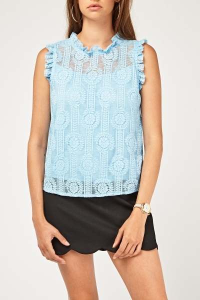 Ruffle Lace Overlay Shell Top