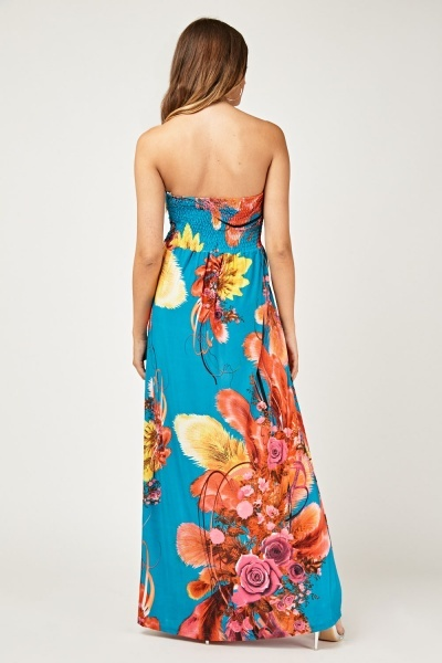 Bandeau Sweetheart Printed Maxi Dress
