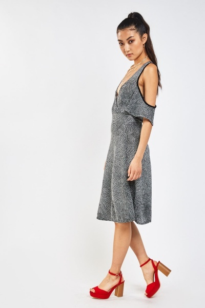 Cold Shoulder Textured Speckled Dress