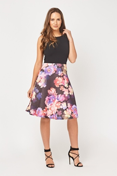 Contrasted Floral Midi Swing Dress