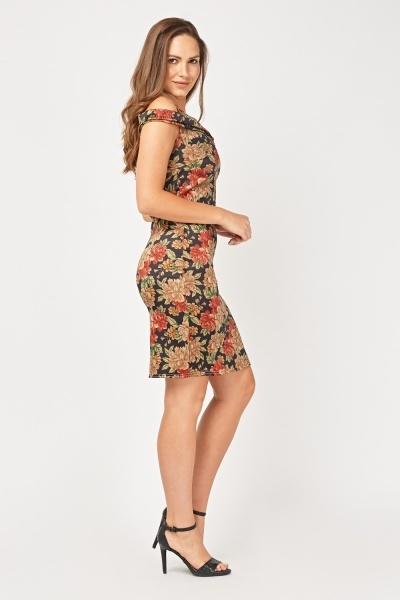 Cut Out Vintage Print Shift Dress