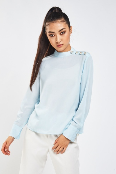 Faux Pearl Side Blouse