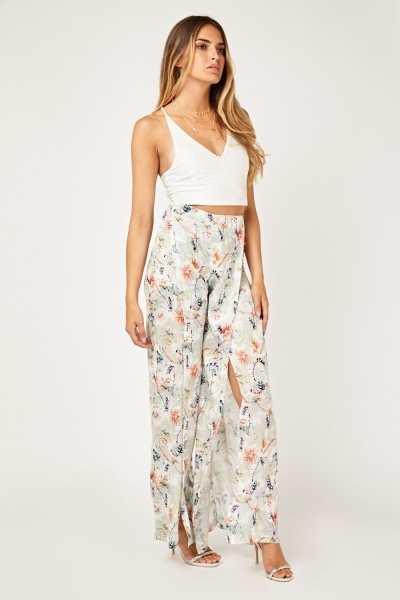 Printed Slit Wrap Trousers