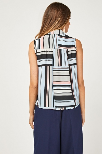 Sleeveless Multi Striped Sheer Top