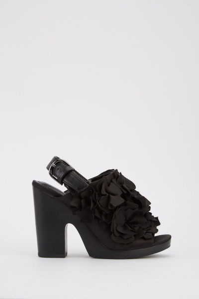 Cut Out Ruffle Trim Chunky Heels