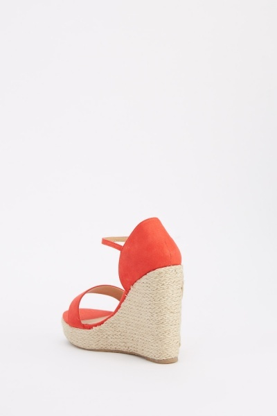 Embroidered Heeled Wedge Sandals