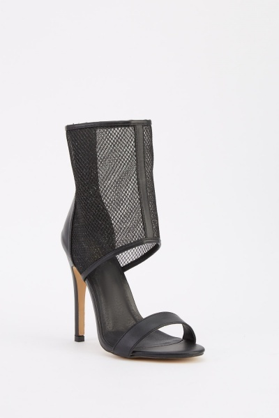 Fish Net Overlay Heeled Sandals