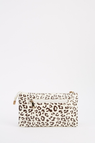 Leopard Mock Croc Contrast Clutch Bag