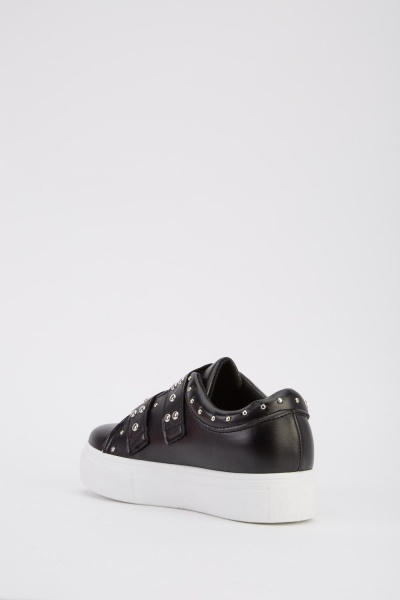 Studded Faux Leather Platform Trainers