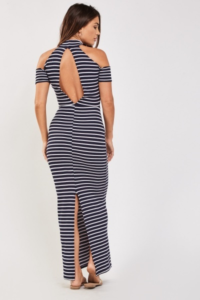 Cold Shoulder Striped Maxi Dress