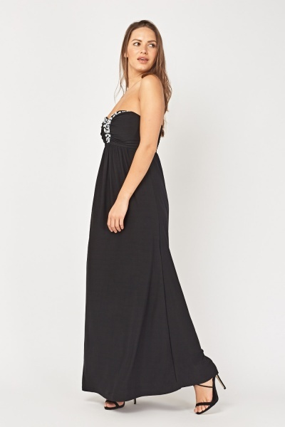 Embellished Sweetheart Maxi Dress