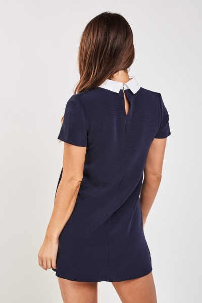 Embroidered Collared Rib Dress