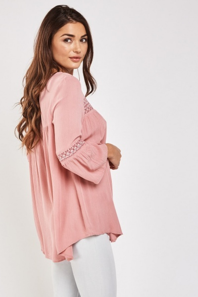 Embroidered Flared Sleeve Tunic Top