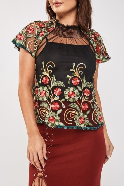 Embroidered Mesh Contrast Top