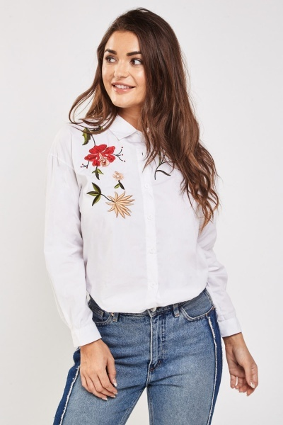 Flower Embroidered Long Sleeve Shirt