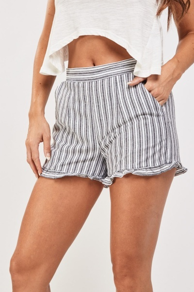 Frilly Hem Striped Shorts