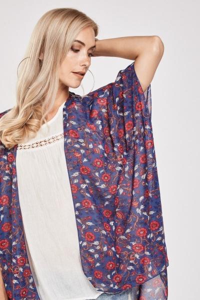 Calioo Printed Sheer Kimono