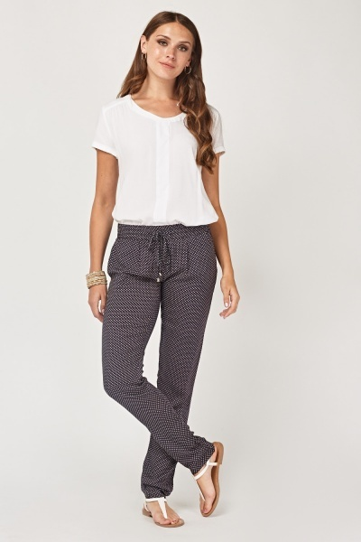 Dotted Swiss Printed Thin Trousers