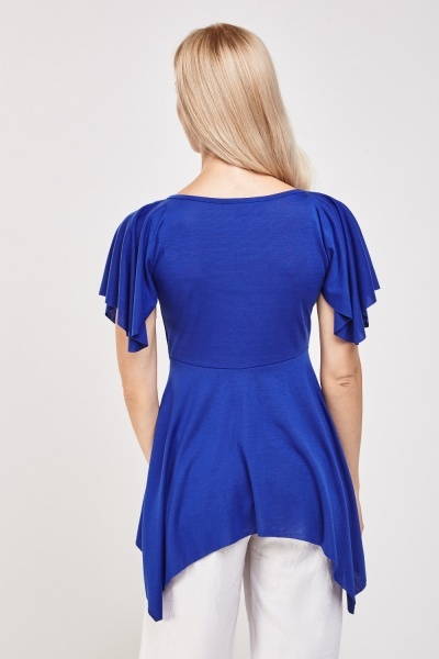 Embellished Ruched Asymmetric Top
