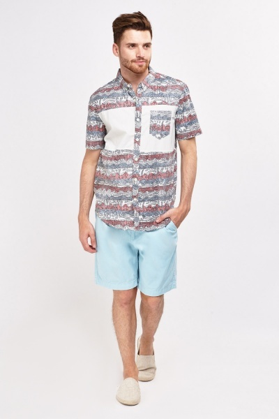 Mens Printed Short Sleeve Shirt
