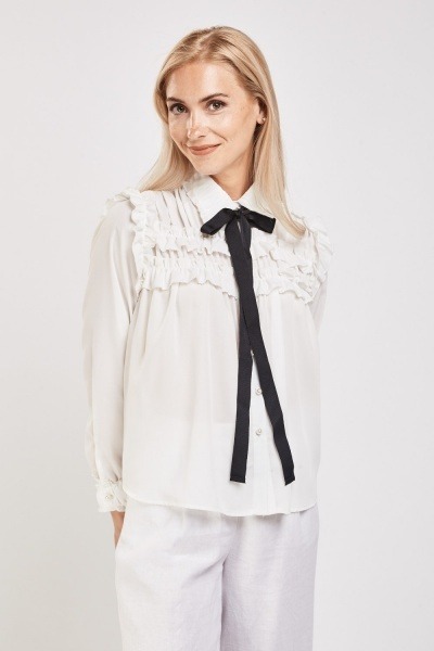 Ruffled Tie Up Neck Blouse