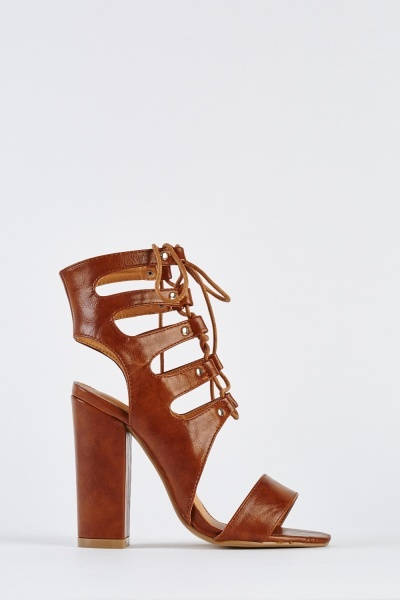 Cut Out Lace Up Heeled Sandals