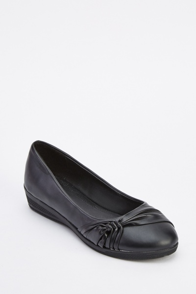 Knotted Faux Leather Ballet Flats