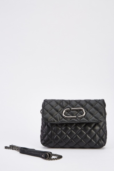Quilted Faux Leather Cross-Body Bag