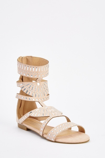 Studded Cut Out Gladiator Sandals