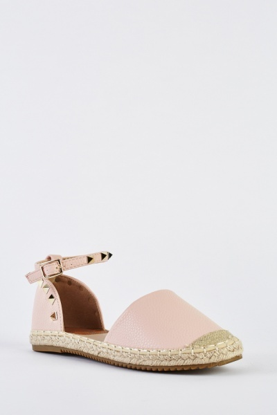 Studded Faux Leather Espadrilles