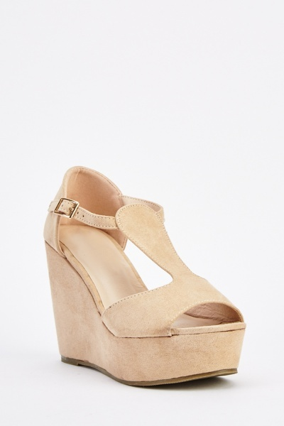 Suedette T-Strap Wedge Sandals