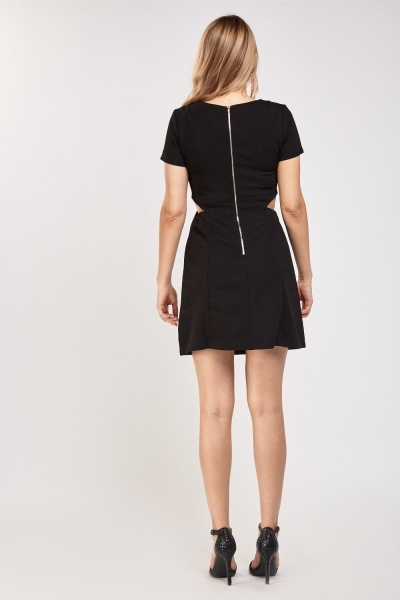 Embellished Cut Out Side Textured Dress