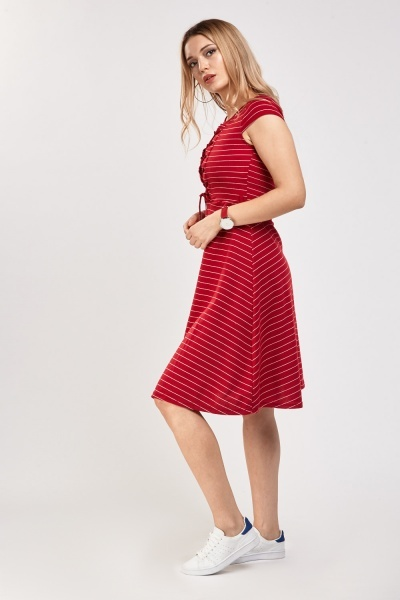 Lace Up Striped A-Line Dress