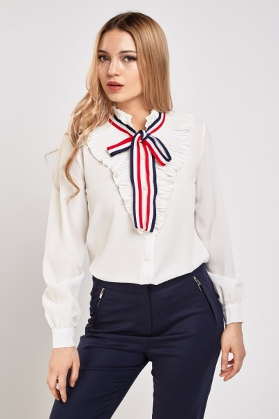 Pleated Ribbon Tie Up Blouse