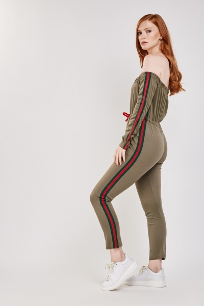 Striped Side Contrast Skinny Jumpsuit