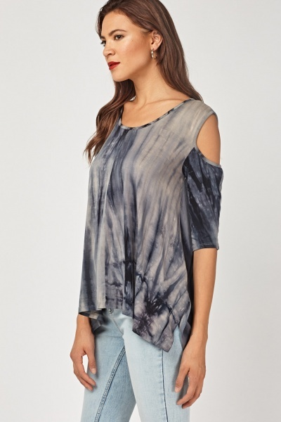 Cold Shoulder Tie-Dyed Asymmetric Top