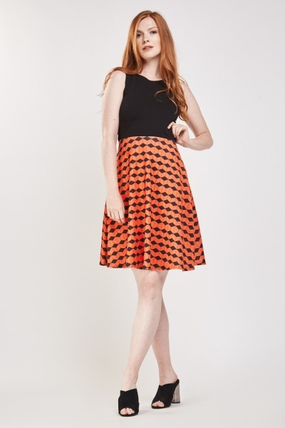 Contrasted Geometric Print Skater Dress