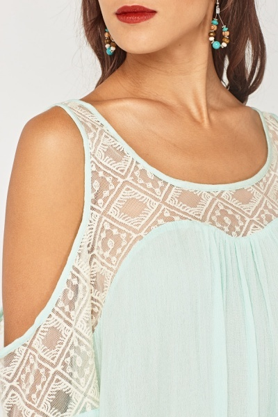 Crochet Mesh Cold Shoulder Top