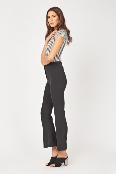 High Waisted Skinny Flared Trousers