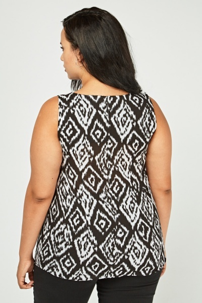 Sleeveless Monochrome Print Top