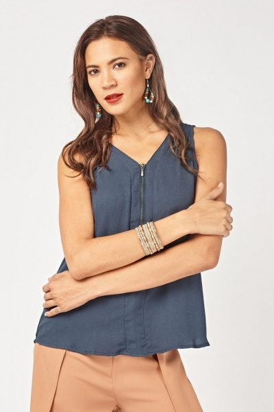 Sleeveless Zip Front Shell Top