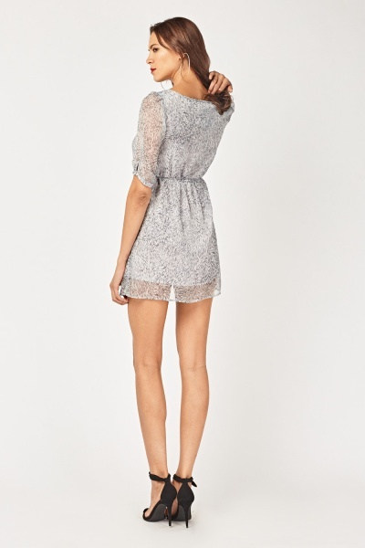 Speckle Print Sheer Tunic Dress