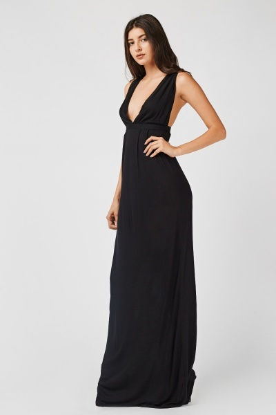 Basic Low Plunge Maxi Dress
