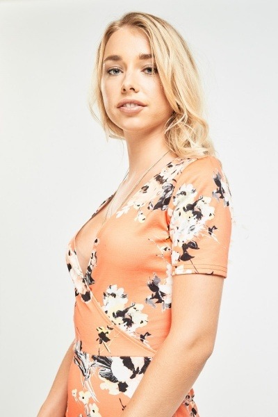Floral Print Wrap Bodycon Dress