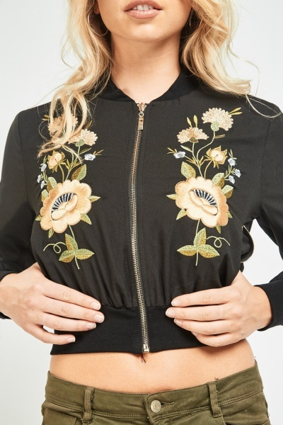 Flower Embroidered Bomber Jacket