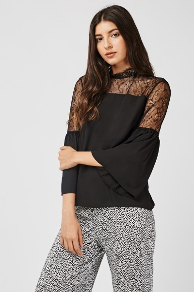 Lace Insert Frilly Sleeve Blouse