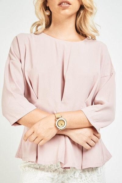 Pleated Batwing Sleeve Peplum Top
